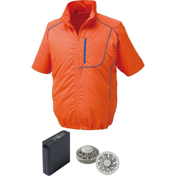 DIY・工具関連 ポリエステル製半袖空調服 大容量バッテリーセット ファンカラー:シルバー 1720G22C30S4 【ウエアカラー:オレンジ×ネイビー LL】