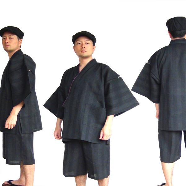 レディースファッション 和服 浴衣 関連 纏(まとい)織甚平黒LL
