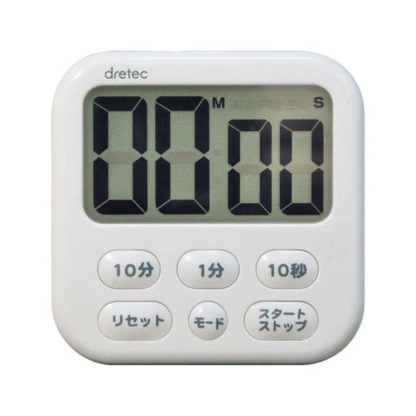 (まとめ)DRETEC キッチンクロックとしても使える 大画面タイマー シャボン6 ホワイト T-542WT【×5セット】