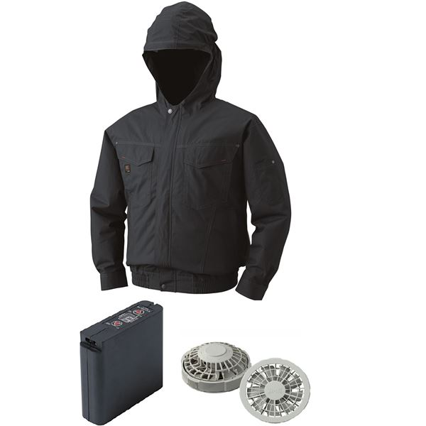 空調服 フード付綿薄手空調服 大容量バッテリーセット ファンカラー:グレー 1410G22C69S5 【カラー:チャコール サイズ:XL】