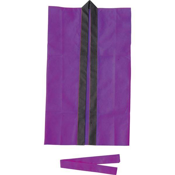 ホビー 関連 生活日用品 雑貨 (まとめ買い)ロングハッピ不織布 紫 S(ハチマキ付) 【×50セット】