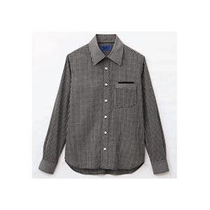 日用品雑貨 (まとめ) セロリー 大柄ギンガムチェック長袖シャツ LLサイズ ブラック S-63410-LL 1枚 【×2セット】