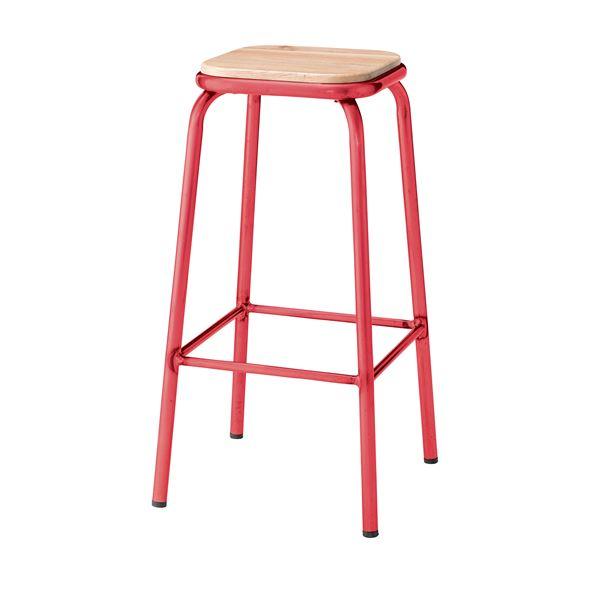 椅子 関連商品 (2脚セット) ハイスツール 天然木(アッシュ) レッド PC-67RD