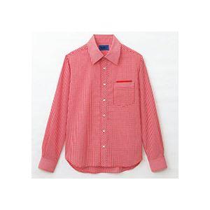 日用品雑貨 (まとめ) セロリー 大柄ギンガムチェック長袖シャツ Sサイズ レッド S-63413-S 1枚 【×2セット】