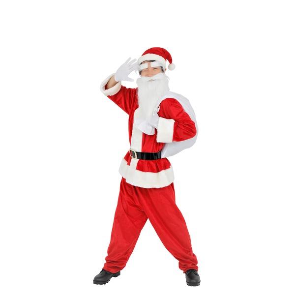 生活 雑貨 通販 【クリスマスコスプレ】サンタクロース 【メンズ スタンダード】 トップス・パンツ・ベルト・帽子・グローブ・サンタ袋・眉毛・髭【代引不可】