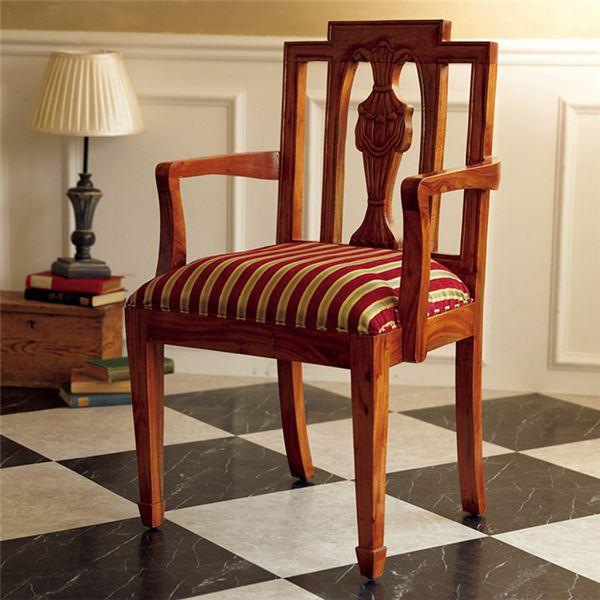 椅子 関連商品 アンティーク調リビングチェア/ダイニングチェア 【シェラトン様式】 肘付き 木製/天然木