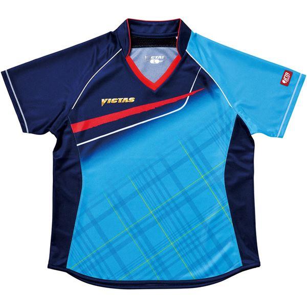 スポーツ・アウトドア 卓球 関連 ヤマト卓球 VICTAS(ヴィクタス) 卓球アパレル V-LS037 Viscotecs ゲームシャツ(女子用) 031460 ブルー Sサイズ
