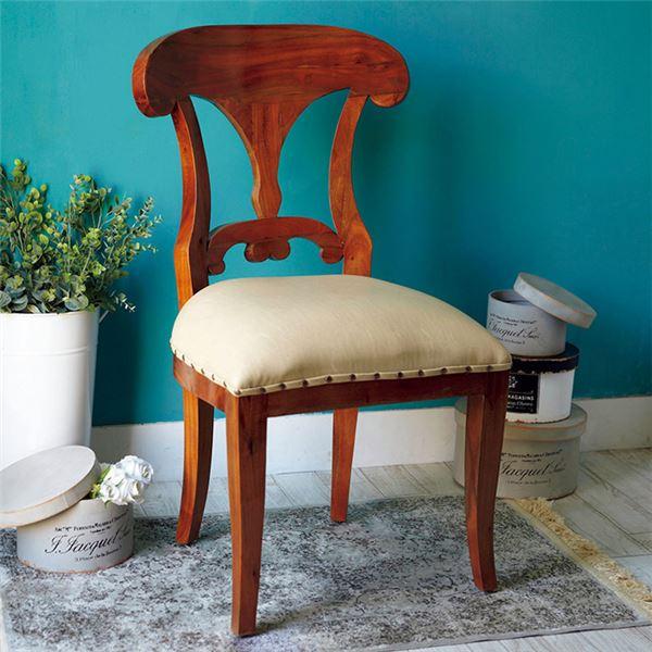 椅子 関連商品 アンティーク調リビングチェア/ダイニングチェア 【ビーダーマイヤー様式】 木製 張地:合成皮革/合皮