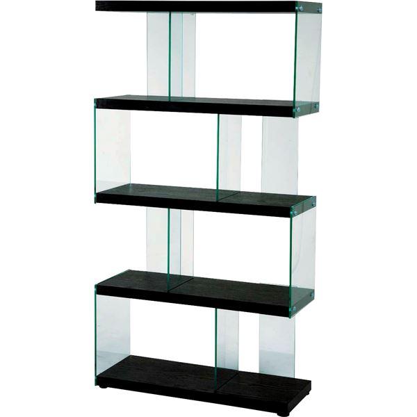 スタイリッシュデザインシェルフ/オープン収納棚 【4段 幅82.5cm】 強化ガラス使用 ブラック IS-684BK