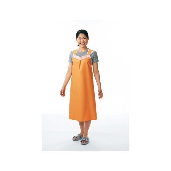 健康器具 便利 日用品 入浴介助エプロン 軽やか介助用エプロン(3)ショートタイプ オレンジ 102-40-8CA