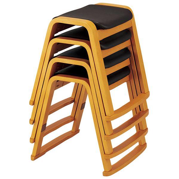 スタッキングスツール 【4脚組】 木製 張地:合成皮革(合皮) ライトブラウン 【完成品】