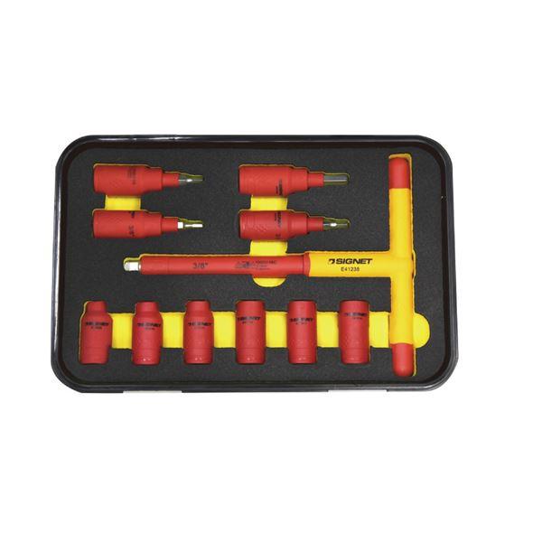 DIY・工具 関連商品 E81611 11PCS 3/8DR 絶縁ソケットセット(T型、ヘックス)