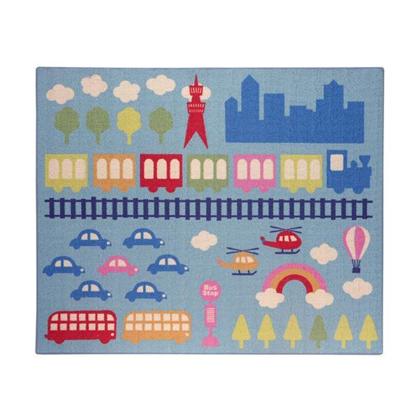 インテリア・家具 デスクカーペット 男の子 乗り物柄 『ランド』 ブルー 133×170cm