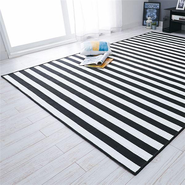 インテリア・家具関連商品 ストライプ ラグマット/絨毯 【約130cm×176cm】 グレー 洗える 綿混 日本製 〔リビング ダイニング〕
