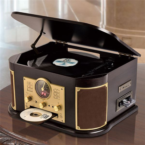 オーディオ 関連 マルチレコードプレーヤー/CDプレーヤー 【幅44.5cm】 木製 リモコン EPアダプター 交換用レコード針1本付き 〔寝室 リビング〕