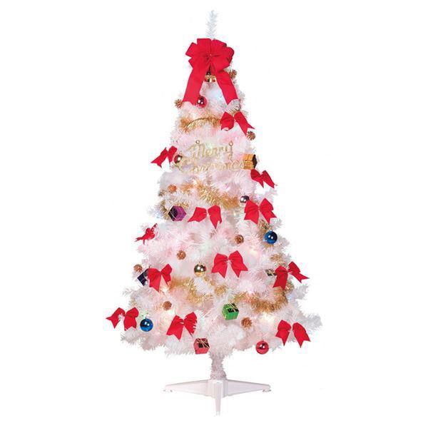 ホビー・エトセトラ関連 クリスマスツリー 【ホワイト 180cmサイズ】 オーナメント付き 分割型 『ファミリーセットツリー』 〔イベント パーティー〕