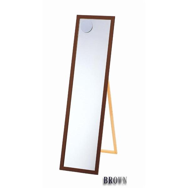 インテリア・寝具・収納 鏡 スタンドミラー 関連 日本製【壁掛け鏡】ウォールミラー木製の鏡 拡大鏡付姿見 4尺(スタンド付) (ブラウン)