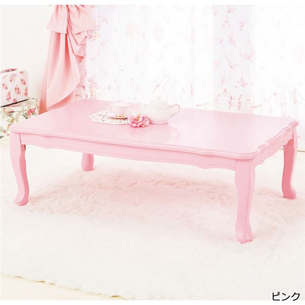 おしゃれな家具 関連商品 折れ脚式プリンセス猫足テーブル ピンク 長方形・小 80×55cm