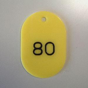 (業務用セット) 番号札 小判型・スチロール製 番号入(連番) CR-BG31-Y 黄 入 【×2セット】