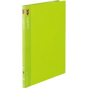 (まとめ) コクヨ クリヤーブック(クリアブック)(K2)固定式 A4タテ 10ポケット 背幅11mm 中紙なし 黄緑 K2ラ-K10YG 1冊 【×30セット】