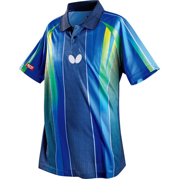 スポーツ用品・スポーツウェア関連商品 バタフライ(Butterfly) 卓球アパレル FLEBAL SHIRT(フレバル・シャツ)男女兼用 45260 ネイビー O
