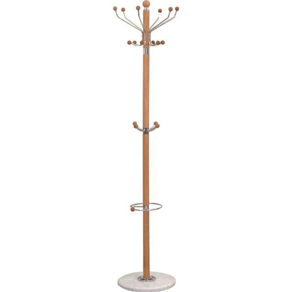 インテリア・家具 ポールハンガーA(衣類収納) 高さ182cm 大理石ベース×木製ポール 傘立て付き NA ナチュラル