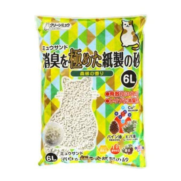 猫用品 トイレ用品 関連 (まとめ)CMミュウサンド消臭を極めた紙製の砂6L【ペット用品】【×7セット】