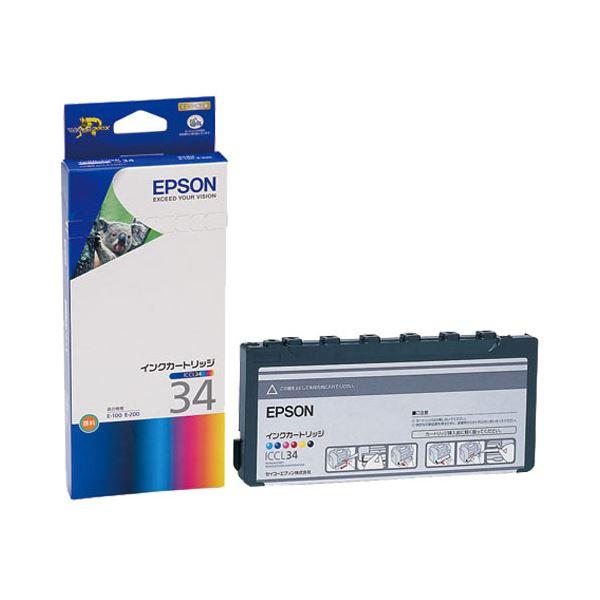 パソコン・周辺機器 (まとめ) エプソン EPSON インクカートリッジ カラー(6色一体型) ICCL34 1個 【×3セット】