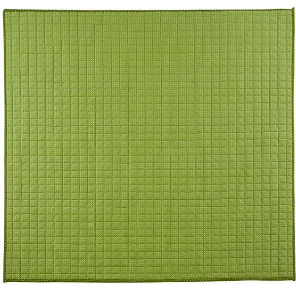 カーペット・マット・畳 カーペット・ラグ 関連 さわやかキルトラグマット/絨毯 【グリーン 約185cm×185cm】 洗える 綿100% 防滑 『グロワール』 〔リビング〕