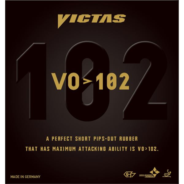 スポーツ・アウトドア 卓球 卓球用ラバー 関連 ヤマト卓球 VICTAS(ヴィクタス) 表ソフトラバー VO>102 020222 ブラック 1.8