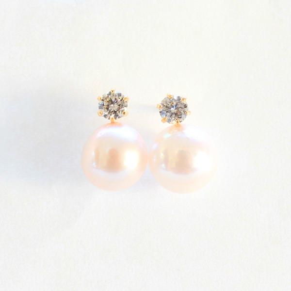 レディースピアス 関連 18金 7mmあこや真珠 0.2ct 天然ダイヤモンドピアス パールピアス