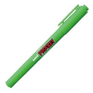文具・オフィス用品 (まとめ) 三菱鉛筆 水性マーカー プロッキー 細字丸芯+極細 黄緑 PM120T.5 1本 【×50セット】
