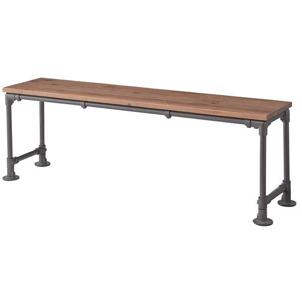 天然木ベンチチェア/腰掛け椅子 【幅134cm】 スチールフレーム 木目調 WPS-342