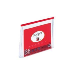 生活用品・インテリア・雑貨 (業務用100セット) LIHITLAB クリアケース マチ付き F-73SM B5S 赤 【×100セット】