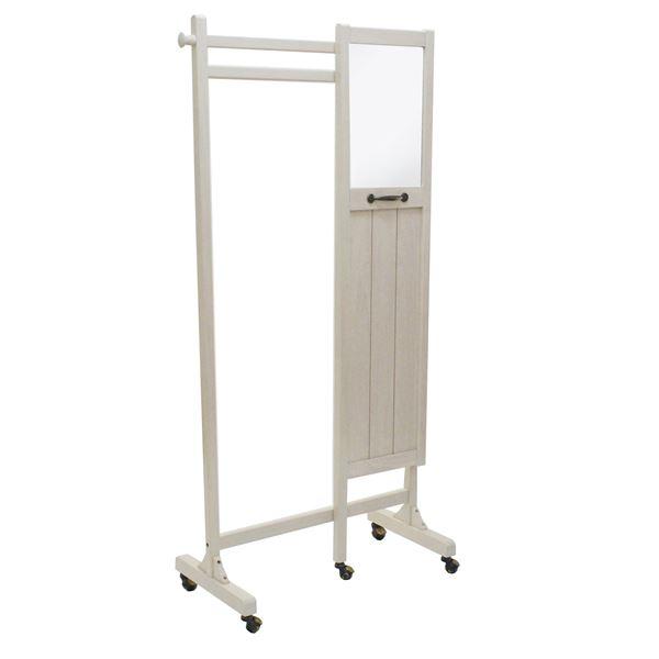 インテリア・家具 ミラー付きハンガーラック(衣類収納) fiaba 木製 高さ160cm キャスター付き WH ホワイト(白)