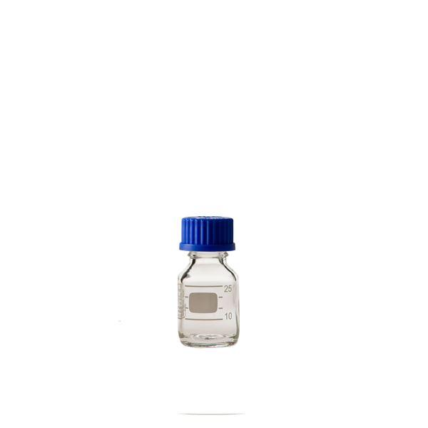 キッズ 教材 自由研究・実験器具 関連 ねじ口びん(メジュームびん) 青キャップ付 25mL【10個】 017200-25A