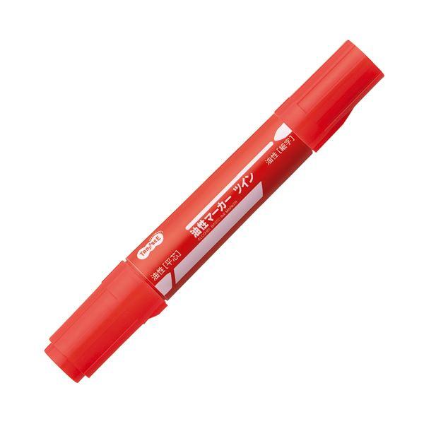 (まとめ) TANOSEE キャップ式油性マーカー ツイン 太字+細字 赤 1セット(10本) 【×10セット】