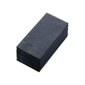 キッチン・食器 (まとめ) カラーナプキン 2PLY 8つ折 ブラック 2PLU-28-B 1パック(50枚) 【×10セット】