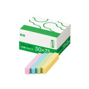 文具・オフィス用品 (まとめ) TANOSEE ふせん 小見出し 50×7.5mm 4色 1パック(24冊) 【×10セット】