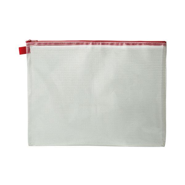 文房具・事務用品 関連 メッシュケース A4タテ260×ヨコ345mm 赤 1セット(20枚)