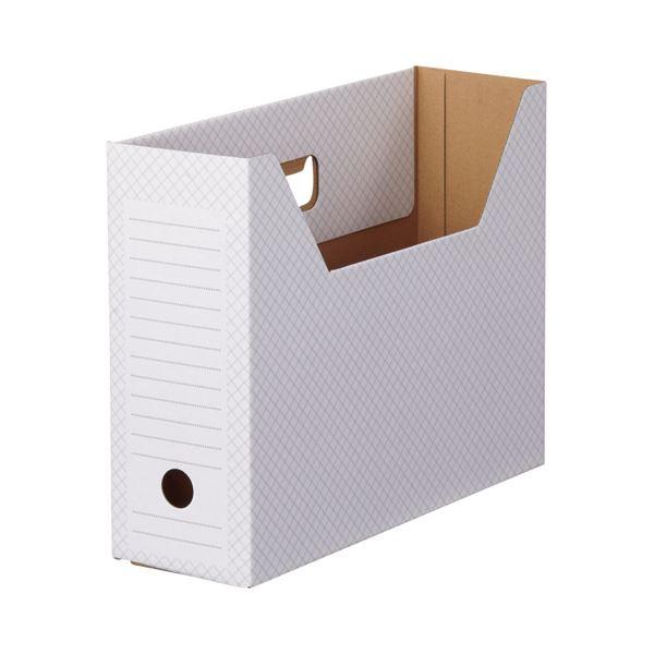 文具・オフィス用品関連 ボックスファイル(ホワイト) A4ヨコ 背幅100mm グレー 1セット(50冊:10冊×5パック)