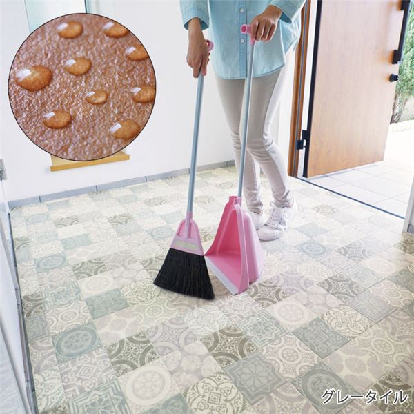 インテリア・寝具・収納 関連 掃除がしやすい玄関シート 約182×200cm グレータイル