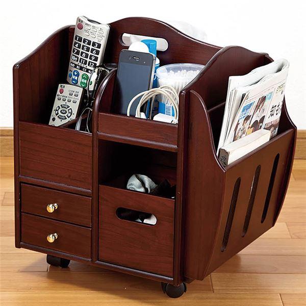インテリア・寝具・収納 収納家具 関連 テーブルまわりの便利なワゴン ブラウン