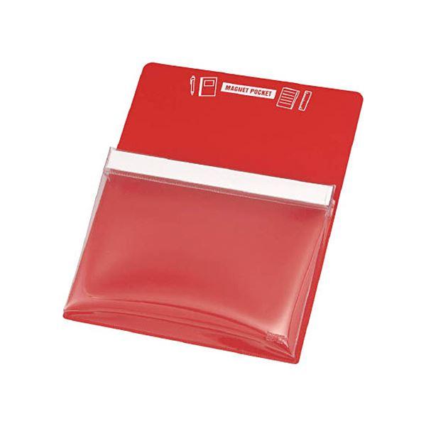 文房具・事務用品 マグネット 関連 (まとめ) マグネットポケットA4用赤 MGP-A4-R 1枚 【×5セット】