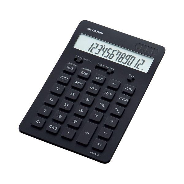電卓 電卓本体 関連 (まとめ買い)スリムデザイン電卓 12桁ナイスサイズ ブラック EL-N802-BX 1台【×2セット】