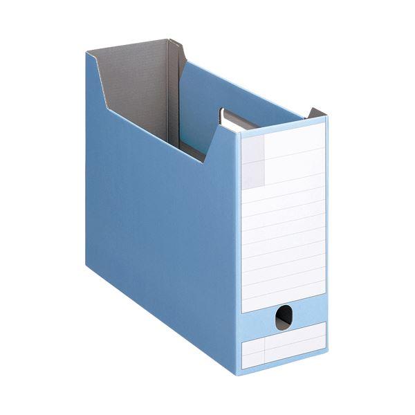 文具・オフィス用品関連 (まとめ)ボックスファイルダンボール製 A4ヨコ型ピッタリサイズ 背幅102mm ブルー BF-432D 1冊 【×20セット】