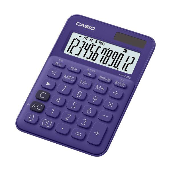 (まとめ買い)カラフル電卓 ミニジャストタイプ12桁 パープル MW-C20C-PL-N 1台【×5セット】