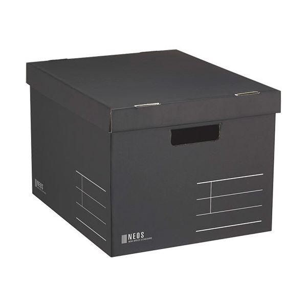 文具・オフィス用品関連 収納ボックス Lサイズ フタ付き ブラック A4-NELB-D 1セット(10個)