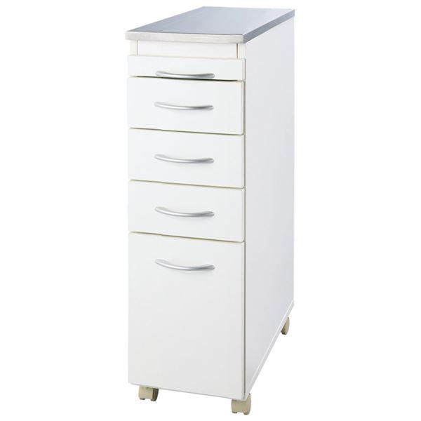 インテリア・寝具・収納 収納家具 関連 スライドテーブル付ステンレスすき間収納 幅25cm