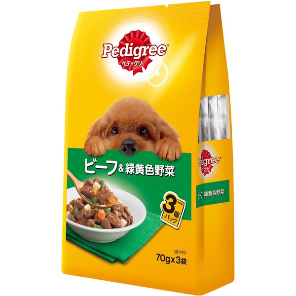犬用品 ドッグフード・サプリメント 関連 (まとめ買い)成犬用 ビーフ&緑黄色野菜 70g×3袋【×48セット】【ペット用品・犬用フード】